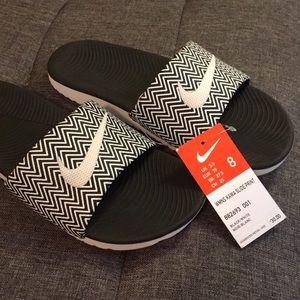 Nike Kawa Slides with Zig Zig Print